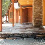 The new Goshen stone front porch
