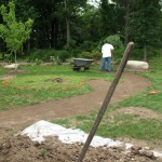 Excavating the path for the sculpture garden