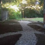 The completed swale, ready for the Goshen stepping stones